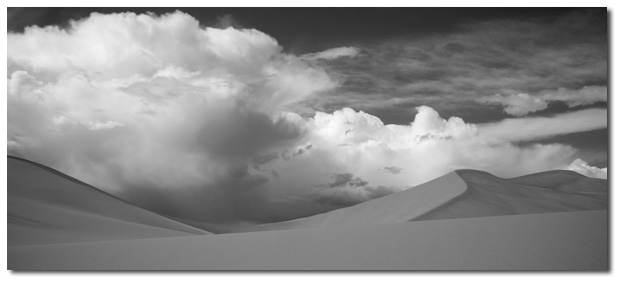 Dramatic photo of the backside of Bruneau Dunes, Idaho.