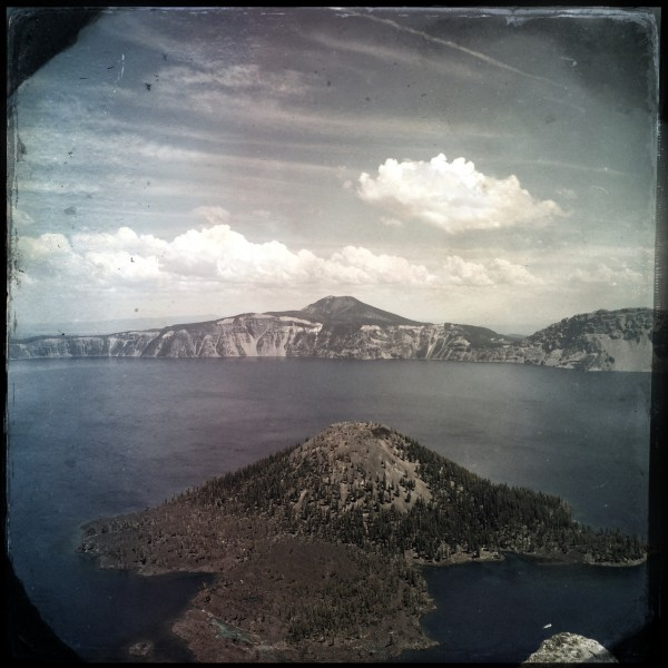 Wizard Island, the lake, and Mt. Scott beyond as seen from The Watchman Tower in Hipstamatic splendor.