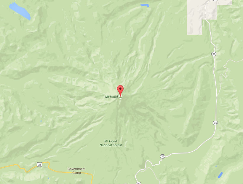 Mt Hood via Google Maps