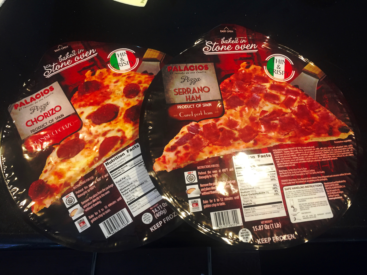 two frozen pizzas from spain